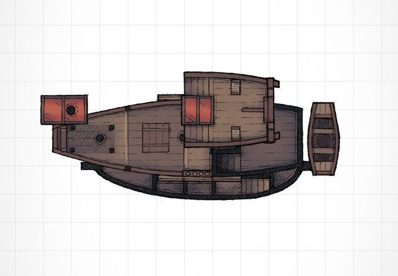 Schooner ship RPG battle map