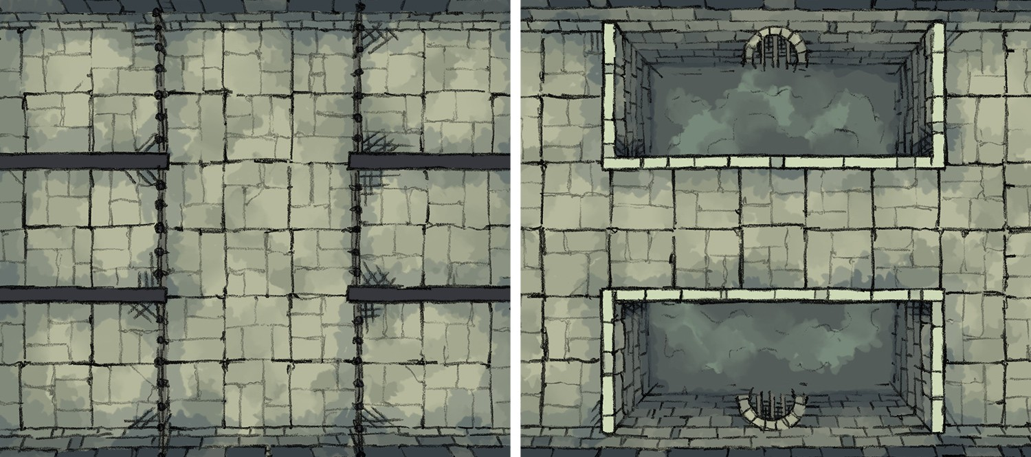 Dungeon Prison and Pool battle maps