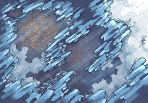 Crystal Cave battle map, custom grid