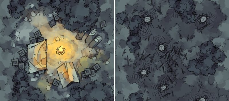 Roadside Camp & Clearcut map tiles, night