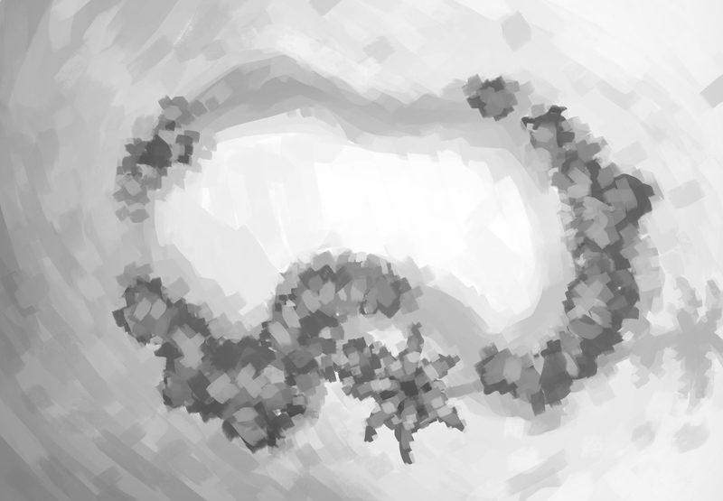Desert Oasis Battle Map, Black & White