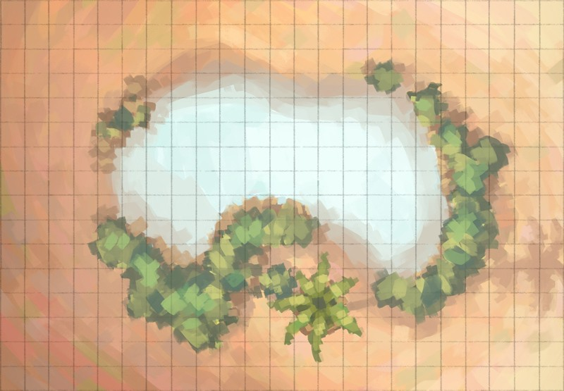 Desert Oasis Battle Map, Grid