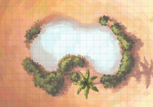 Desert Oasis Battle Map, Square Grid