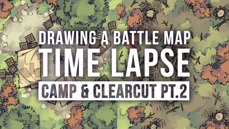 Speed Drawing the Roadside Camp & Clearcut map tiles (Pt.2)