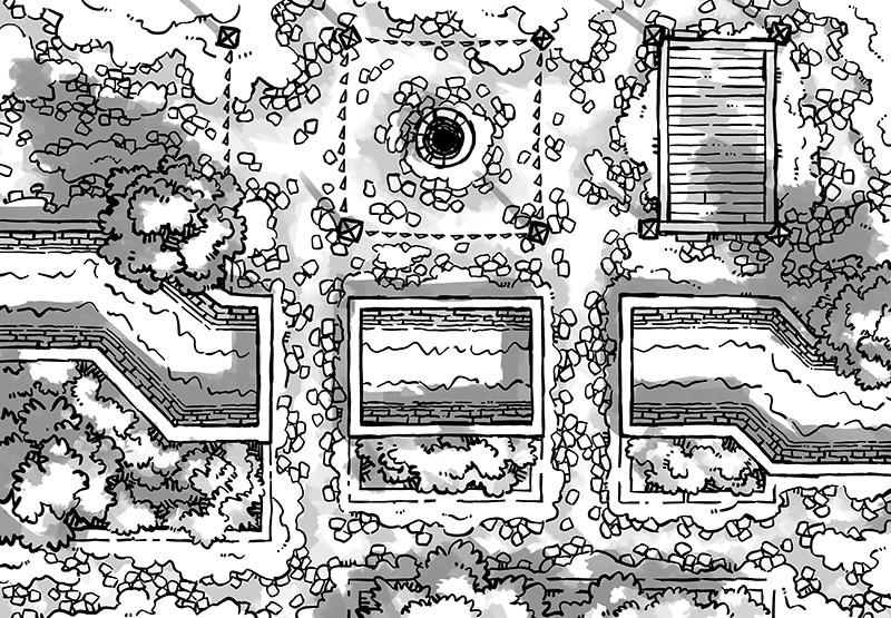 Snowy Plaza Battle Map, Black & White