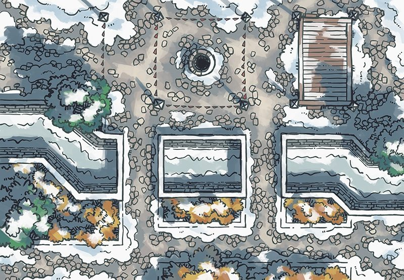 Snowy Plaza Battle Map, Day
