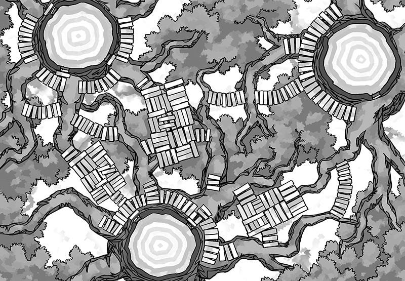 Oakenspire Treetops battle map, black & white
