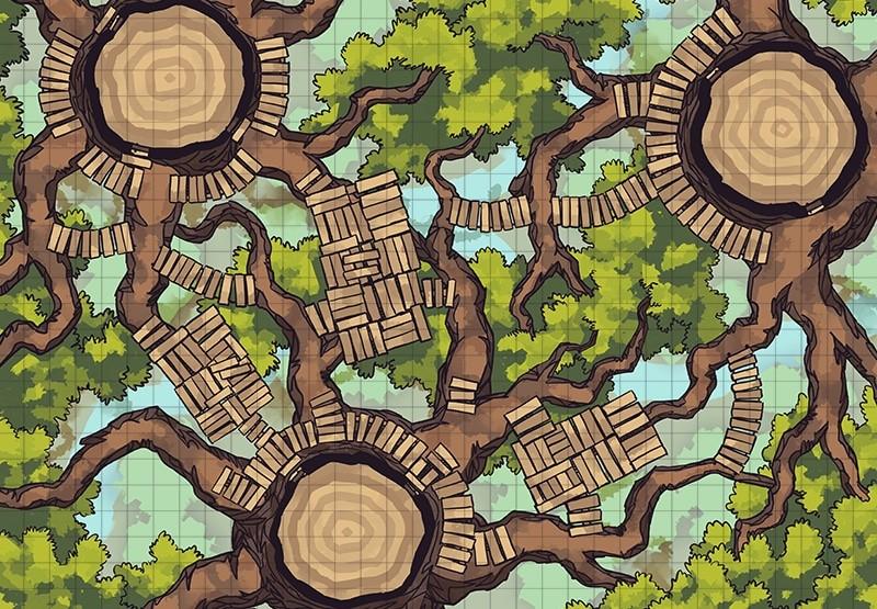 Oakenspire Treetops battle map, grid