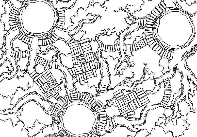 Oakenspire Treetops battle map, lines