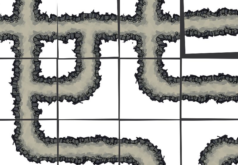 Cave Tunnels battle map tiles, demonstration