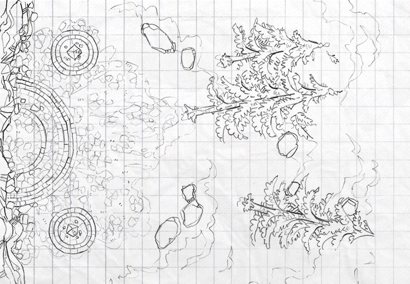 Battle Map: Volatile Portal lineart square grid