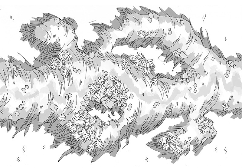 Luminescent Cave battle map, black and white grayscale