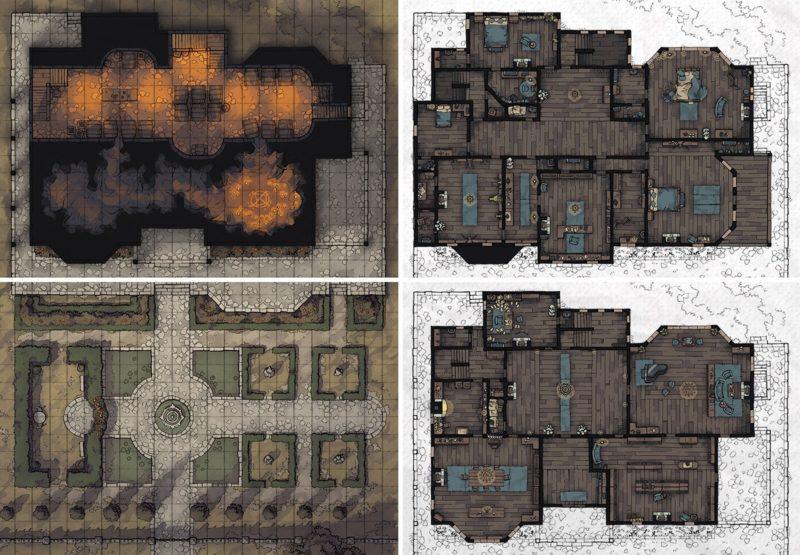 Haunted Estate RPG battle map set