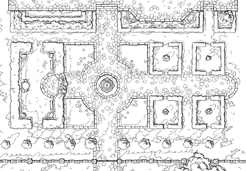 Haunted Garden RPG battle map, line art