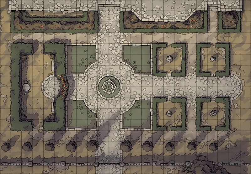 Haunted Garden RPG battle map, square grid