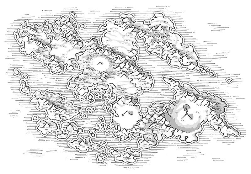 Wei Continent RPG World Map, black & white