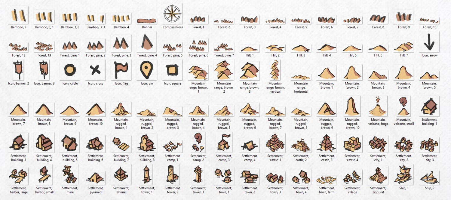 Wonderdraft Map Icons (Hand-Drawn!) by 2-Minute Table Top