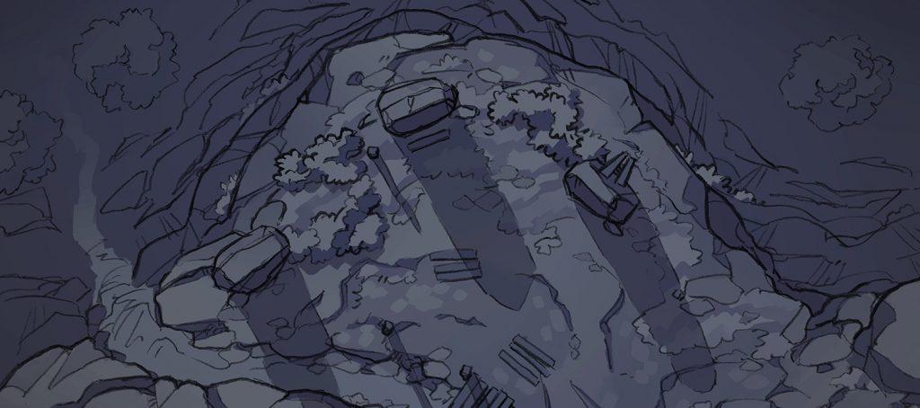 Buzzard Cliff RPG battle map, banner, night