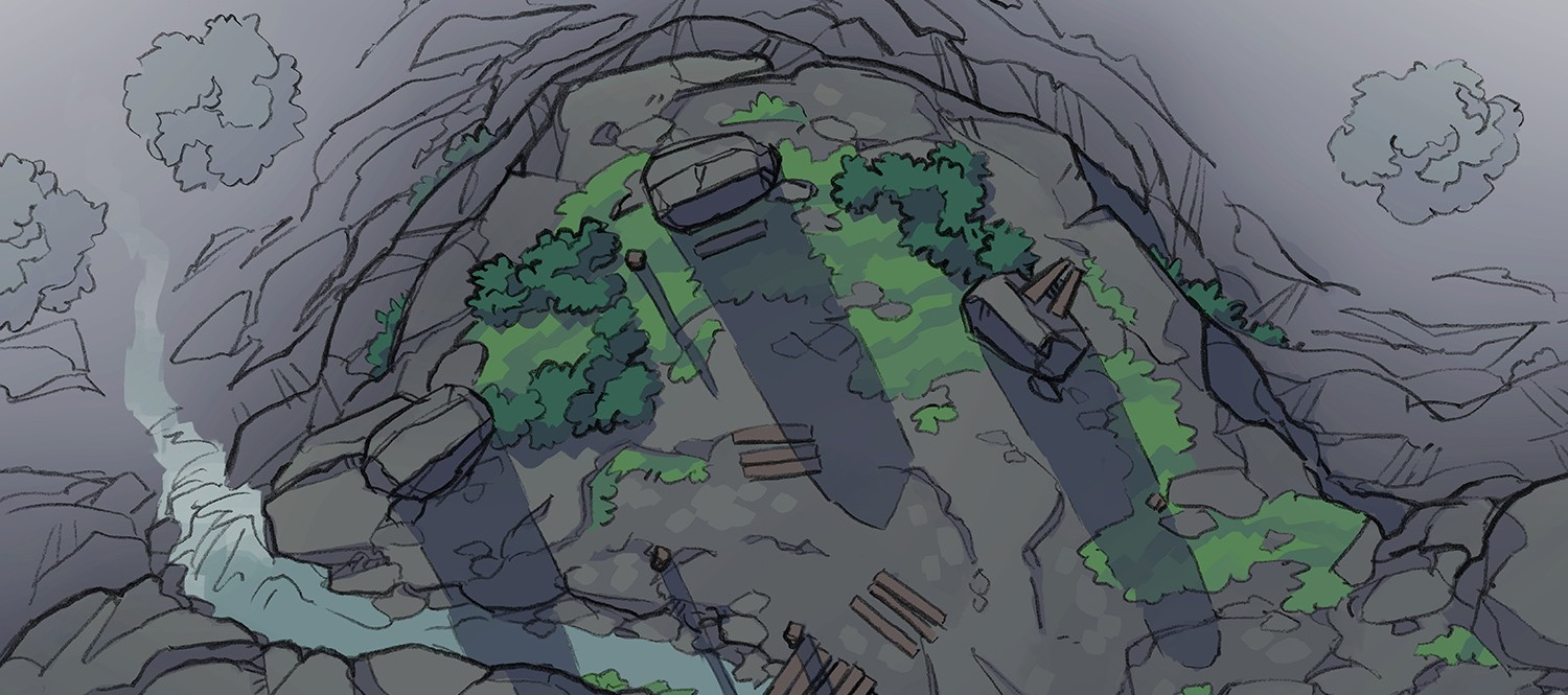 Buzzard Cliff RPG battle map, banner