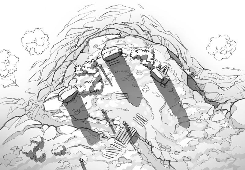 Buzzard Cliff RPG battle map, black & white greyscale