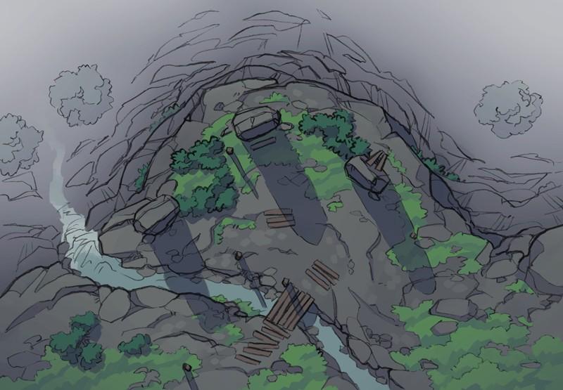 Buzzard Cliff RPG battle map, color