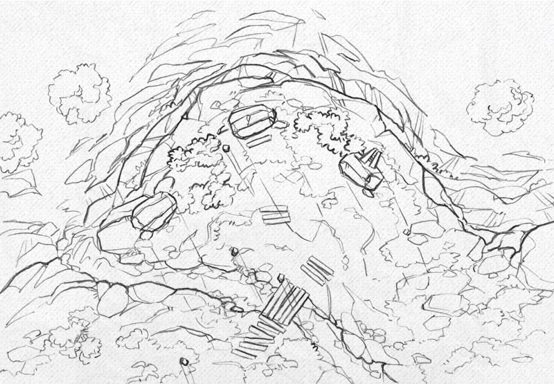 Buzzard Cliff RPG battle map, line art