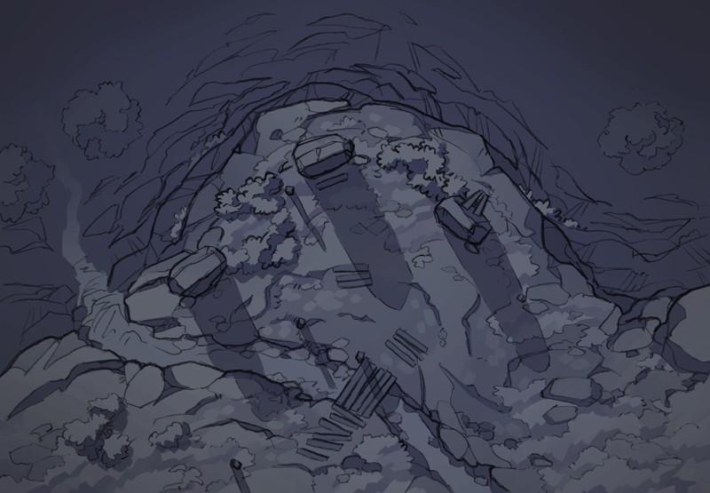 Buzzard Cliff RPG battle map, night