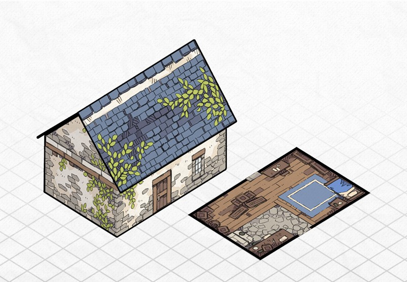 Papercraft Cottage 3D Battle Map, 3D Preview
