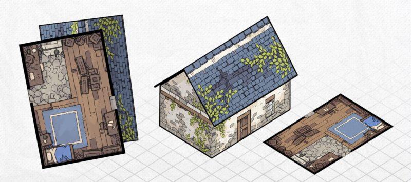 Papercraft Cottage 3D Battle Map, Banner