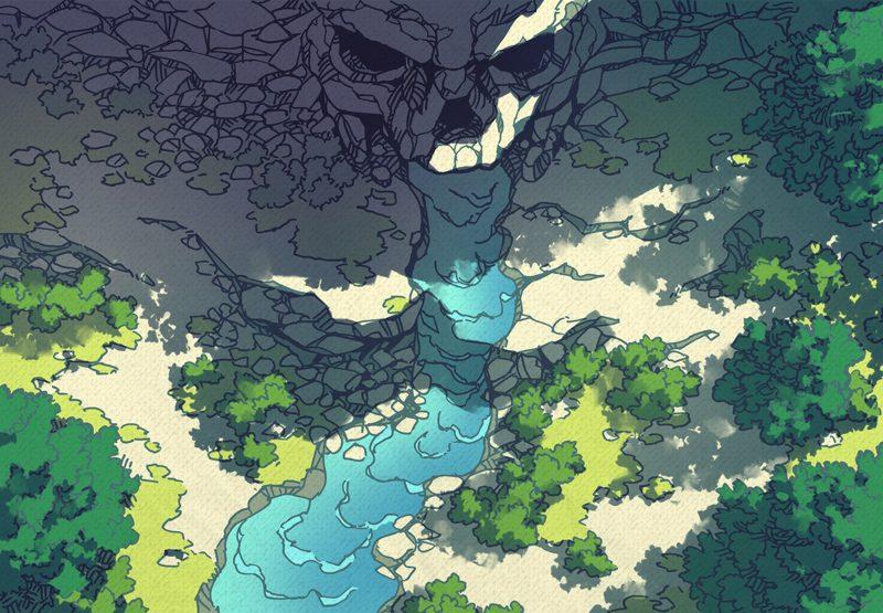 Cursed Cave battle map, tropical
