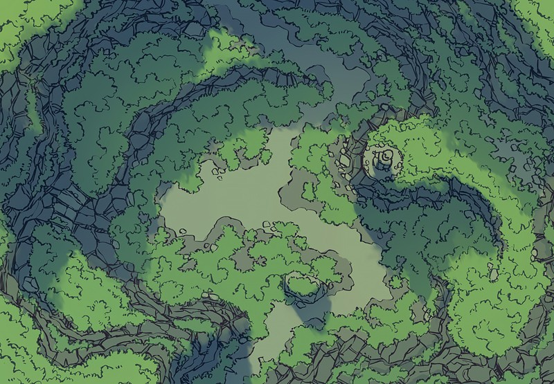 Highland Pass battle map, color, no grid