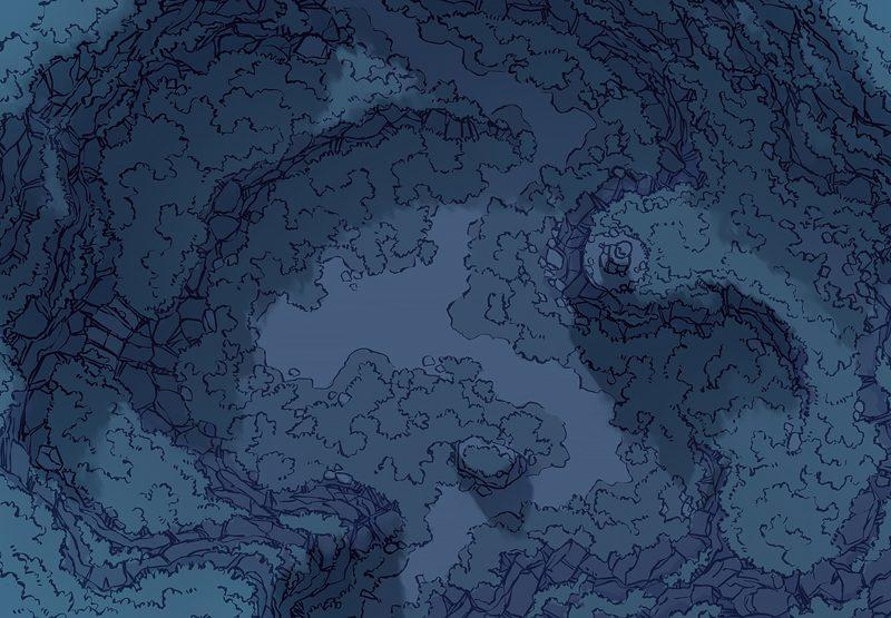Highland Pass battle map, night