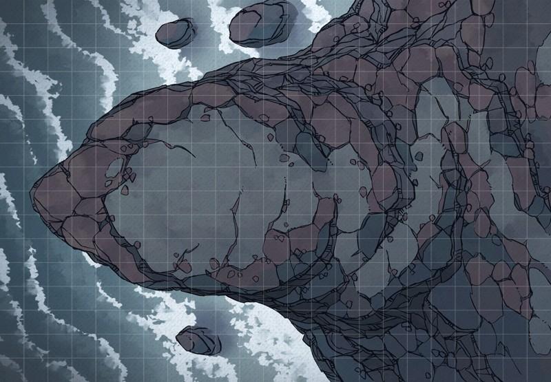 Seaside Precipice RPG battle map, square grid