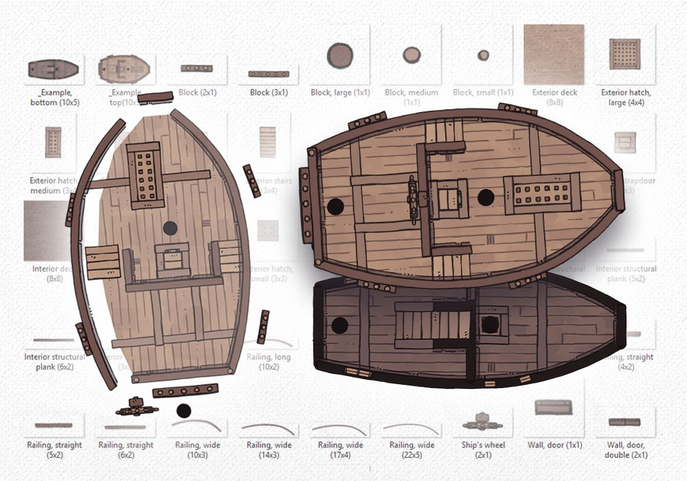 Sailing Ship Map Assets, build your own sailing ship map