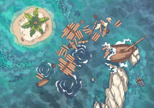 Coastal Shipwreck RPG Battle Map, preview