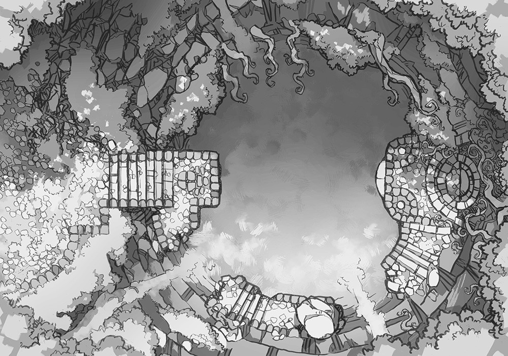 Jungle Temple RPG battle map, black & white