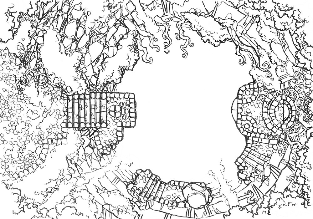 Jungle Temple RPG battle map, lines