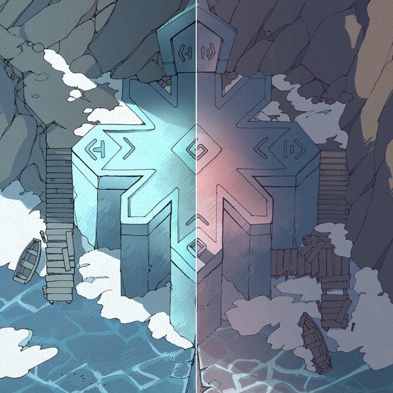 Ice Temple frozen lake RPG battle map, Instagram