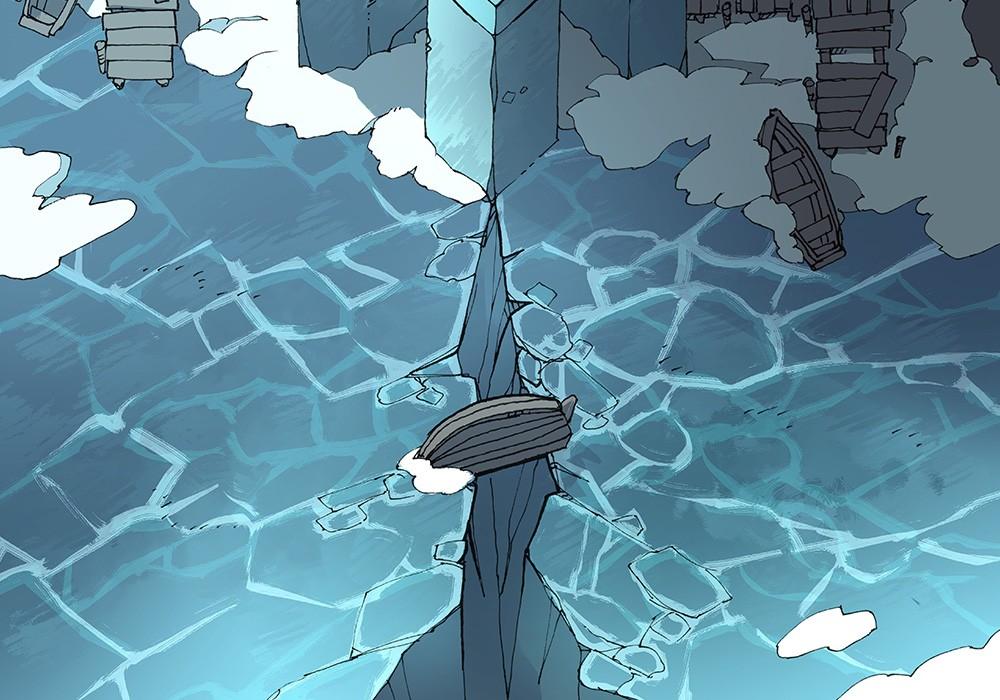 Ice Temple frozen lake RPG battle map, color 1