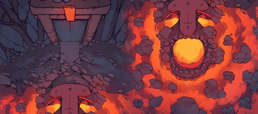 Volcano Lava Fire Temple RPG battle map, banner