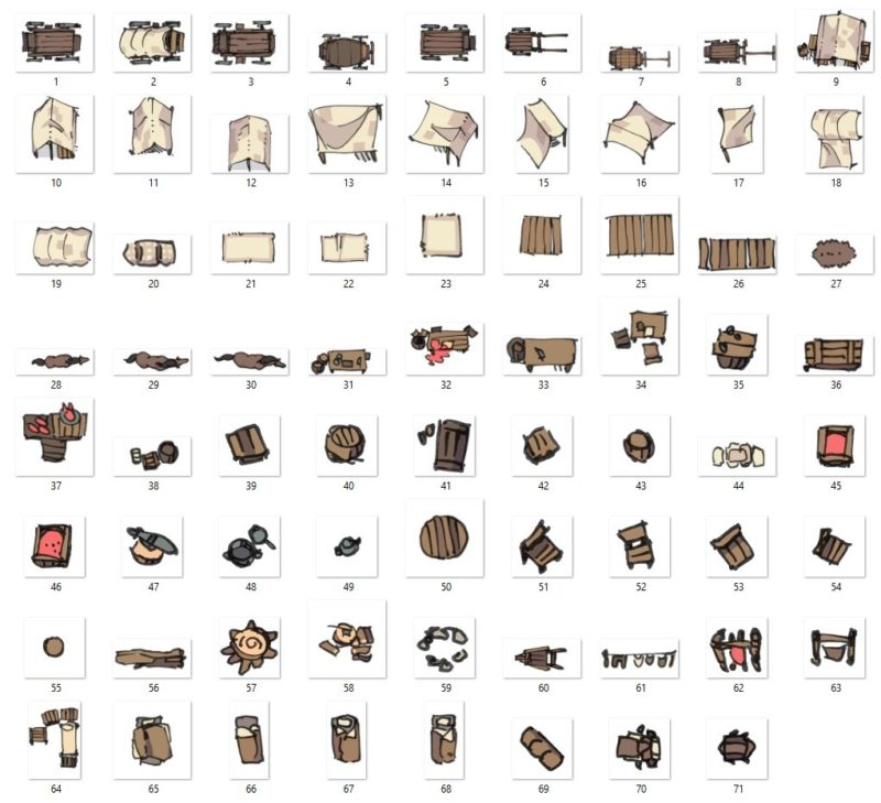 Bandic Camp Assets and Battle Map, Contents Preview