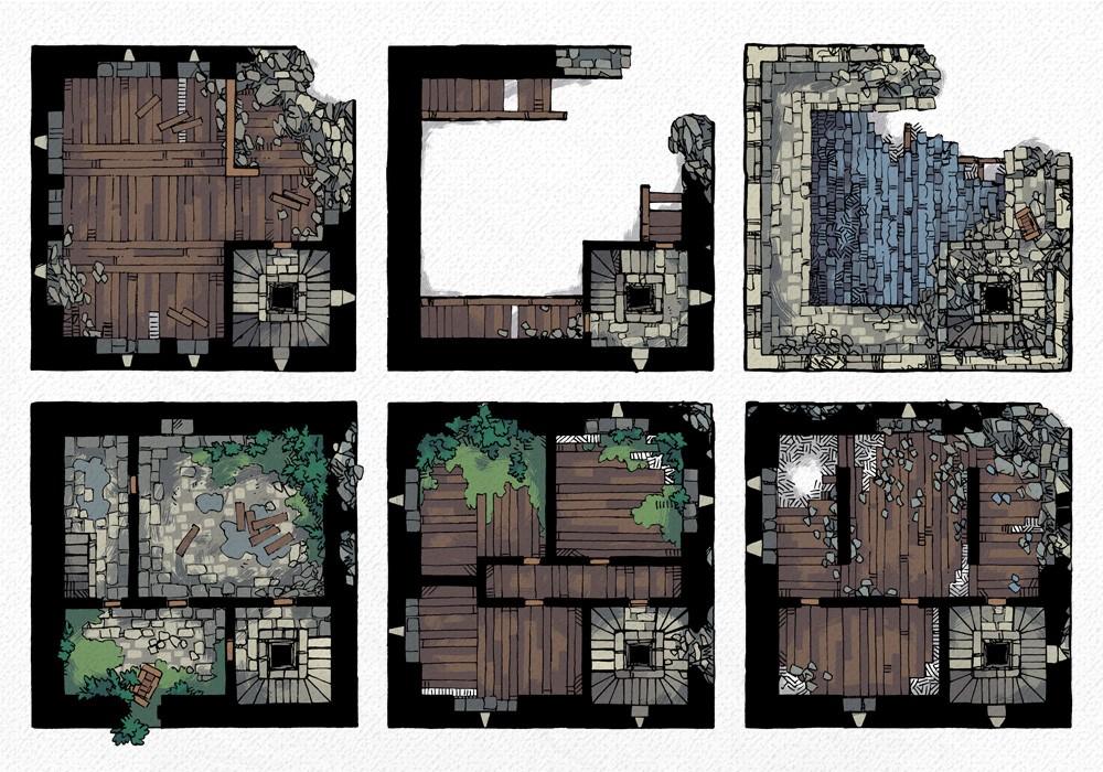 Ruined Keep Battle Map, All Floors