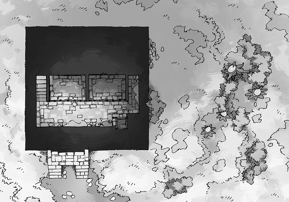 Square Keep Hill Battle Map, black & white preview