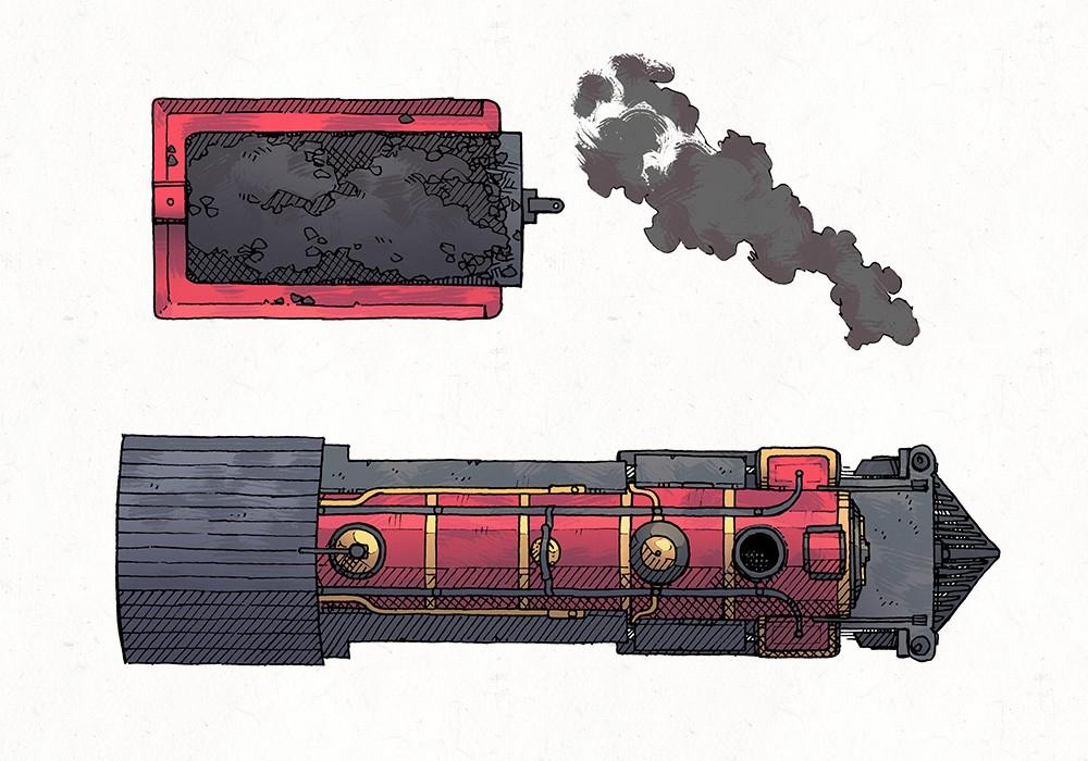 Steam Locomotive RPG Battle Map, Color Preview
