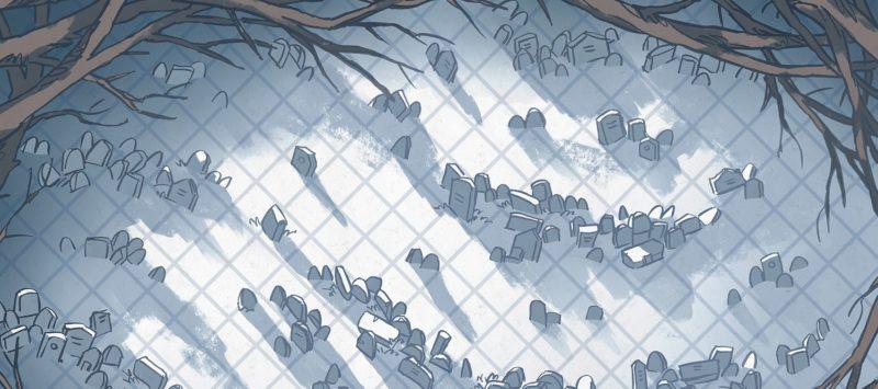 Silent Snowy Cemetery Battle Map – Banner