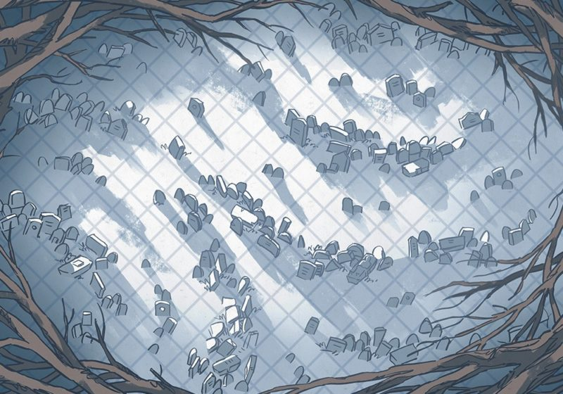 Silent Snowy Cemetery Battle Map – Color, Grid