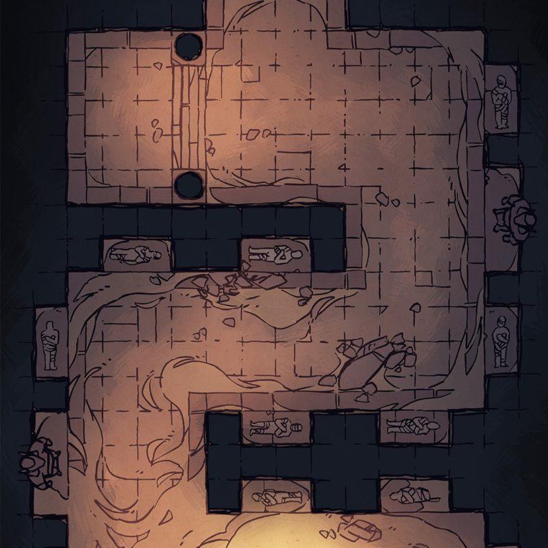 Winding Desert Catacomb Egyptian Battle Map, Instagram