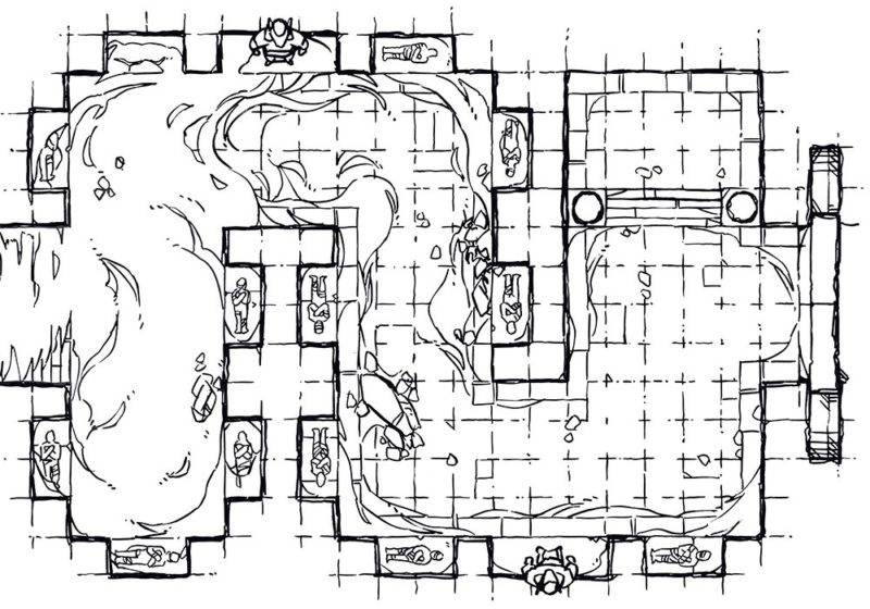 Winding Desert Catacomb Egyptian Battle Map, Lineart Preview