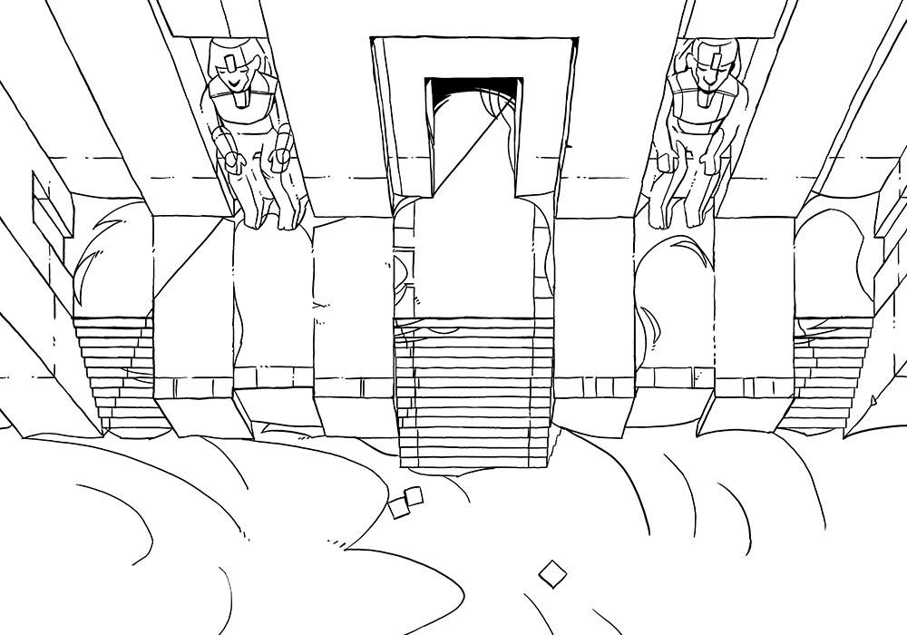 Desert Temple Battle Map, line art