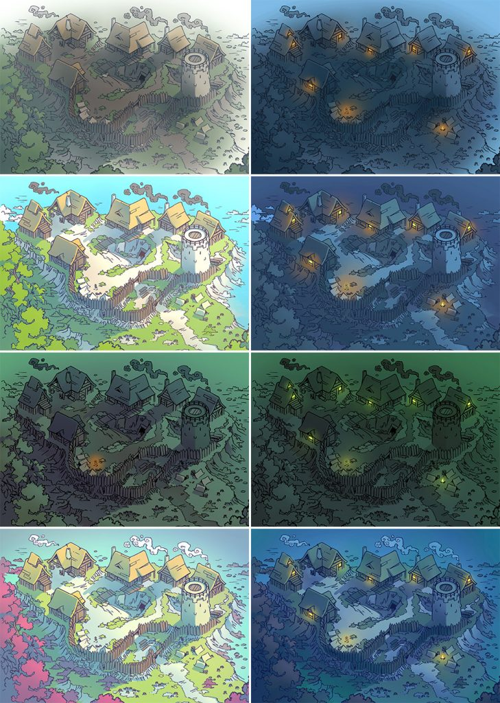 Fog's Edge Outpost Jungle Town Map, all map variants